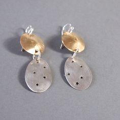 Long Dangle Earrings Disc Earrings Pierced Silver Leaf Earrings Mixed Metal Jewelry by ShillyShallyjewelry on Etsy