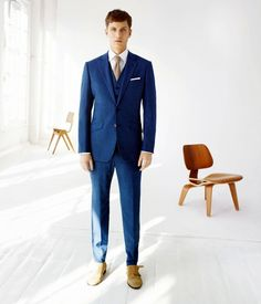 Something blue for the groom with this sharp wedding suit. Find more wedding inspiration #fromthomas – on Pinterest and http://instagram.com/thomasjewellers/ #thomasjewellers #ilovethomas