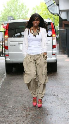 Kelly Rowland Cargo Pants and Pumps