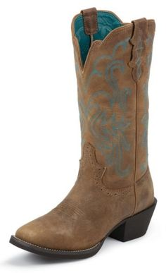 Justin Puma Cowhide Stampede Cowgirl Boots - Square Toe - Sheplers