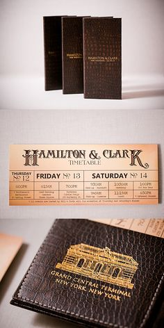 The train wedding invitations were inspired from a vintage train ticket. Brown Wedding Invitations, Destination Wedding Invitations, Ticket Invitation, Invitation Design, Train Timetable, Men's Vintage, Foil Stamping, Twine, Envelopes