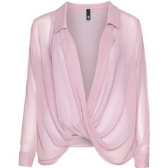 Manon Baptiste Draped chiffon blouse ($155) ❤ liked on Polyvore featuring tops, blouses, long sleeves, shirts, see through blouse, sheer long sleeve top, chiffon shirt, pink long sleeve shirt and pink sheer blouse