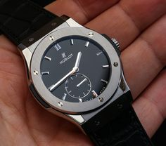 "Hublot Classic Fusion Ultra-Thin 42mm ""Shiny Dial"" Watches Hands-On - Read more and see all the photos on aBlogtoWatch.com ""It is easy to forget that an Hublot brand existed before it was purchased by Jean-Claude Biver back over a decade ago. In 2004 he released the Big Bang which fundamentally changed the nature of the brand forever. It was more or less bankrupt before that, but there were a lot of good things in the brand DNA..."""
