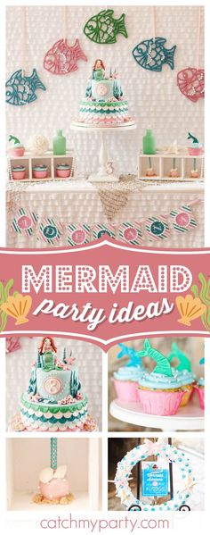 Don't miss this fantastic Mermaid birthday party! The birthday cake is amazing!! See more party ideas and share yours at CatchMyParty.com #underthesea #mermaid #girlbirthday