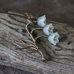 """Wire Wrapped Flower Necklace: """"Lily of the Valley"""" 