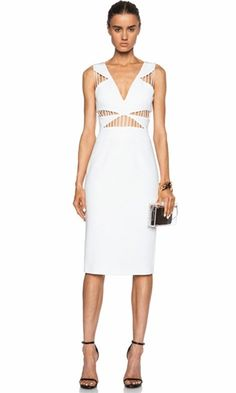 Midnight In Vegas White Sleeveless Cut Out V Neck Bodycon Bandage Dress