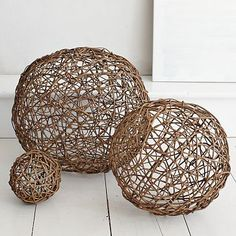 I want to make these for on top of our bookcases. Maybe in a natural twine or something more colorful with yarn.