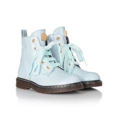 Monnalisa Girls Pale Blue Patent Leather Lace Up Boots