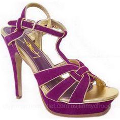 YSL Sandals Yves Saint Laurent Tribute Black Suede Purple ,$324