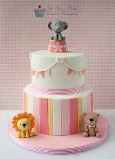two tier baby circus cake! Fondant Cakes, Cupcake Cakes, Circus Cakes, Cupcakes Decorados, Jungle Cake, First Birthday Cakes, Circus Birthday, Circus Party, Birthday Parties