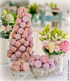 Bubble and Sweet: Sweet Dreams are made of Pink - Macaron and Marshmallow Tower