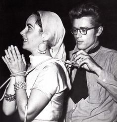 "Elizabeth Taylor with James Dean on the set of ""Giant."""