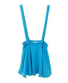 Blue Skater Skirt with Shoulder Braces