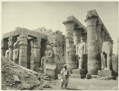 Rare Photos of Egypt from the 1870s. Luxor: The temple, Ramses statues.   Photograph via The New York Public Library Digital Gallery