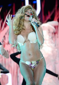 Lady Gaga performing 'Applause' live at the 2013 MTV Video Music Awards in Brooklyn, New York.