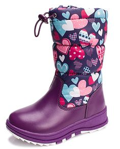 iDuoDuo Girls Classic Waterproof Snow Boots Side Zipper Warm Plush Winter Boots Toddler//Little Kid//Big Kid