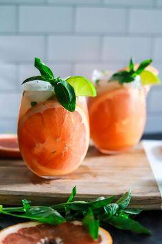 Grapefruit Cocktail, Cocktail Drinks, Fun Drinks, Yummy Drinks, Basil Cocktail, Beverages, Grapefruit Juice, Spring Cocktails, Cocktail Ideas