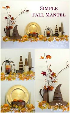 How to decorate a mantel: Make your own simple, inexpensive fall mantel by following these tips!