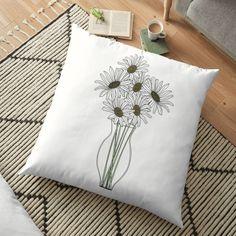 'Vase of Daisies minimal art' Floor Pillow by PounceBoxArt Floor Pillows, Throw Pillows, Canvas Prints, Art Prints, Pillow Design, Duvet, Minimalism, Daisy, Cushions