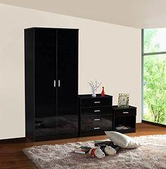 Gladini High Gloss 3 Piece Bedroom Furniture Set – Includes Wardrobe, 4 Drawer Chest, Bedside Cabinet – Prima Furniture