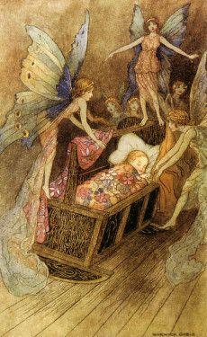 Warwick-Gable-Fairies-around-a-baby-cot
