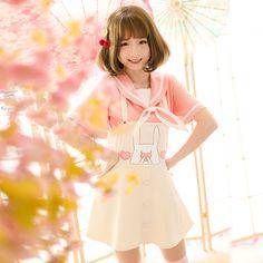 abcd8ed3c67759 Mori Lolita Bunny Ear Navy Collar T-Shirt Girly Cute Tops