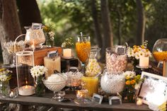 Cheery Rustic Wedding + candy bar: www. Dessert Bar Wedding, Candy Bar Wedding, Wedding Sweets, Dessert Bars, Dessert Table, Candy Buffet, Candy Table, Candy Display, Orange Party