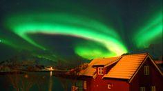 Northern light Aurora Borealis Nordlys Lofoten Islands Norway.