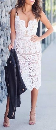 White lace midi dress.