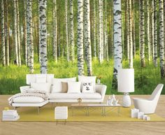 Birch Forest - Wall mural, Wallpaper, Photowall, Home decor, Fototapet Room Wallpaper, Photo Wallpaper, Unique Furniture, Outdoor Furniture Sets, Wall Design, House Design, Hall Flooring, Photo Mural, Wall Treatments