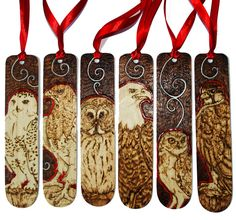 Pyrography Bird of Prey bookmarks with red details by BumbleBeeFairy on DeviantArt