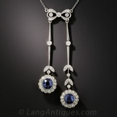 Edwardian Interchangeable Synthetic Sapphire, Diamond Necklace, Bracelet and Bar Pin Set - Antique & Vintage Necklaces - Vintage Jewelry