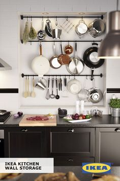 When cabinet and drawer space is in short supply – but your kitchenware and supplies aren't – wall storage can fill the gap. Create your own solution with IKEA rails, hooks, containers and shelves that make everything easier to grab and also make a style statement.
