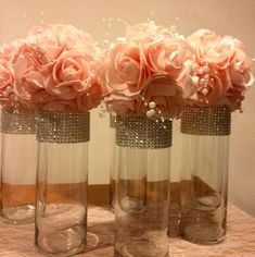 This listing is for 12 tall GORGEOUS cylinder shaped vases with rhinestone look mesh ribbon. I have three sizes on these vases, 10 inches tall, 9 inches tall and 7 inches tall and Ill have the 3 inch opening. Just choose the size you want from the drop Quinceanera Centerpieces, Quinceanera Party, Diy Centerpieces, Bling Centerpiece, Centerpiece Wedding, Candles Wedding, Floating Flower Centerpieces, Flower Ball Centerpiece, Princess Centerpieces