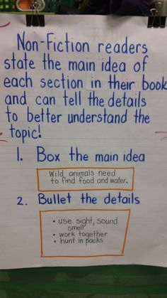 box and bullets -- main idea and details jg Informational Reading Eighth Grade: Central Ideas and Summarizing (Common Core Standard 5th Grade Reading, Student Reading, Teaching Reading, Teaching Literature, Guided Reading, Learning, Teaching Ideas, Reading Lessons, Reading Skills