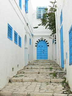The blue and white village of Sidi Bou Said, Tunisia