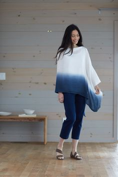 A poncho for every occasion (featuring J. Shibori Fabric, Shibori Tie Dye, Tie Dye Fashion, Boho Fashion, Fashion Outfits, Diy Tie Dye Techniques, Everyday Casual Outfits, Tie Dye Crafts, Diy Clothes