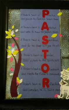My adaptation of a bulletin I found on pintrest for Pastors Appreciation. Bible School Crafts, Sunday School Crafts, Bible Crafts, Pastor Appreciation Gifts, Pastor Anniversary, Gifts For Pastors, Church Bulletin Boards, Church Activities, Bible Activities