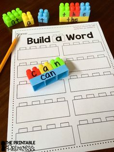 "Working on sight words in preschool, Kindergarten, and 1st grade is a HUGE skill! That's why this ""Build a Sight Word"" activity with FREE recording sheet is so great! Click through to see how to set up your own literacy center so your classroom or homeschool students can master their sight words. And make sure to pick up your freebie while you're there!"