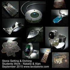 Stone setting, etching and riveting 3day workshop @lavidalerie.  Students work.  Jewellery by Natalie & Alan