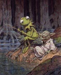 Yoda and Kermit. Did you know that Frank Oz played Fozzie Bear and Yoda? I did.
