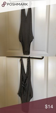 urban outfitters bodysuit! urban outfitters black and cream striped bodysuit! never worn! Urban Outfitters Tops