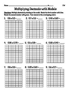 math worksheet : lesson 4 multiply decimals by decimals interactive notebooks  : Decimal Model Worksheet