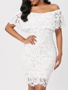Off Shoulder Lace Bodycon Sheath Formal Dress Short African Dresses, Latest African Fashion Dresses, Lace Dress With Sleeves, Lace Sheath Dress, Bodycon Dress, Lace Dress Styles, Casual Dresses, Formal Dresses, Classy Dress