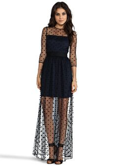 ALICE BY TEMPERLEY Celia Long Dress in Navy Mix - New