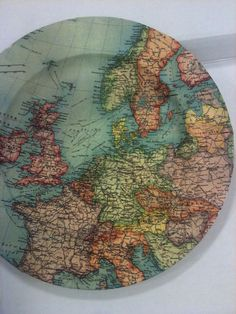 ⇚ Map Quest ⇛ maps & globes in history, art, craft & decor - decoupage map plate