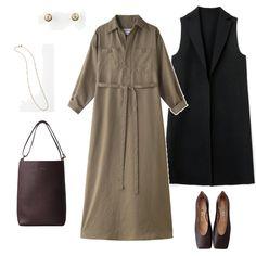 """""""かわいい""""より""""きれい""""派の女性から信頼を集める「ブルーバード ブルバード」。定番のシャツドレスは毎シーズン人気のアイテムですが、今回は秋らしいシックなカーキ色をピックアップ。襟の端にとても柔らかなワイヤーが入っていて、好みの形にアレンジ可能というのも着こなし方をぐっと広げてくれる嬉しいポイント! ボタンをいつもよりひとつ多く開けて襟を立て、袖をまくってハンサムに着こなしても素敵ですよ。寒くなったらジレを羽織ったり、タートルネックのニットをインナーにレイヤードして秋のコーデを楽しんでくださいね。"""