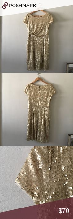 Beautiful gold sequin Adrianna Papell dress I love this dress and wore it at MOH in my best friend's wedding, but would like to sell it as I'm not typically a sequin wearing gal ;) I've only worn it once and it's a great piece! Adrianna Papell Dresses Wedding