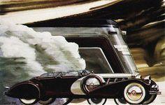 1930s luxury car races streamlined train.