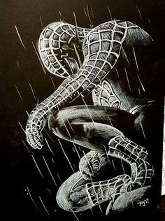 Spiderman drawing by LkayKreations on Etsy Spiderman Noir, Art Spiderman, Spiderman Sketches, Spiderman Tattoo, Spiderman Drawing, Black Spiderman, Marvel Drawings, Cool Pencil Drawings, Chalk Drawings